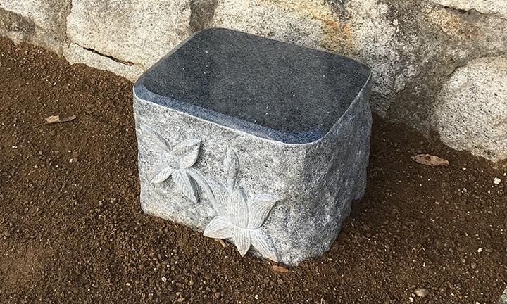倉敷市石材店のお墓のこだわり物置石